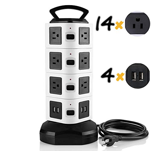 (Surge Protector Tower Power Strip Vertical USB Surge Protector 2500w 10A 14 Outlet Plugs with 4 USB Slot and 6 ft Cord Wire Extension Universal Surge Protector for Office&Bedroom)