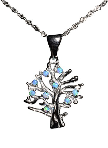 Tingle Sterling Silver Tree of Life Necklace Pendant Sterling Silver Blue Opal Pendant Necklace 925 Sterling Silver Necklace Pendant for Women