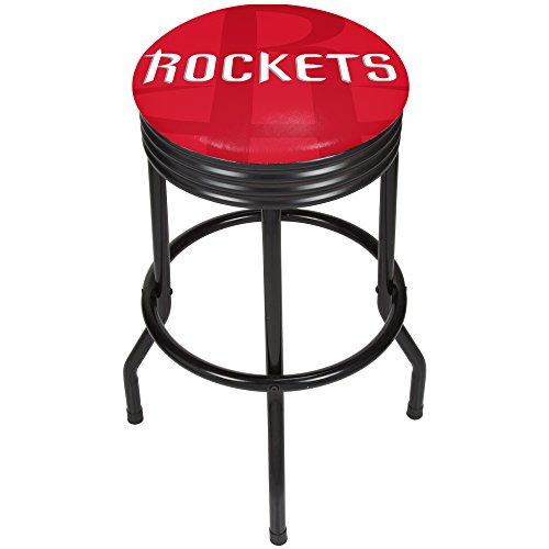 - Trademark Gameroom NBA1006-HR2 NBA Black Ribbed bar Stool - Fade - Houston Rockets