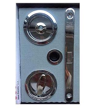 Cerradura + Condena y dedal, Kit para PUERTAS CORREDERAS, Entrada 50mm, Cromo Brillo: Amazon.es: Bricolaje y herramientas
