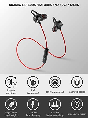 Diginex Bluetooth Earbuds Wireless Magnetic Headset Sport Earphones for Running IPX7 Waterproof Headphones 9 Hours Playtime High Fidelity Stereo Sound and Noise Cancelling Mic 1 Hour Recharge Red