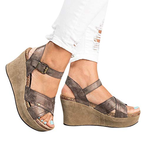 Realdo Women Plus Size Wedge Sandals with Platform Summer Fashion Buckle Strap Wedges Retro Peep Toe Shoes