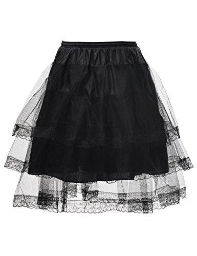 Alicepub Hoopless Short Vintage Petticoat Black Tutu Underskirt Skirt Half Slip
