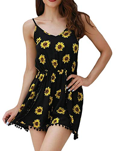 Relipop Women Summer Floral Romper Casual Sleeveless Party Evening Mini Jumpsuit (XX-Large, -
