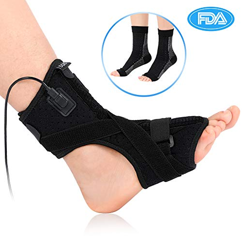 (Plantar Fasciitis Support, Orthotics Drop Foot Brace Kit with Compression Foot Socks Massage Ball, Night Splint for Plantar Fasciitis, Tendon Stretch, Achilles, Heel Spur, Fits Left Right Foot)