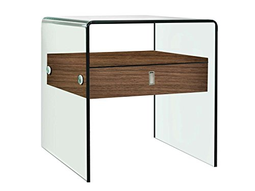 - Casabianca Furniture CB-J052-WAL Bari Nightstand/End Table by Casabianca Home, Walnut Veneer W Glass