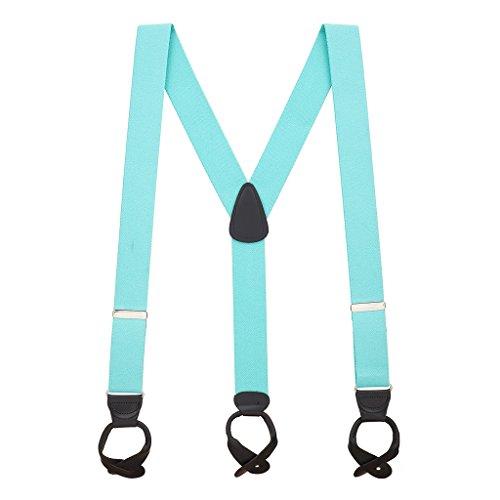 SuspenderStore Men's 1.5 Inch Wide Button Suspenders - TIFFANY BLUE