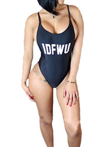Wuxh Women's Sexy Bodycon One Piece Backless Swimsuit Swimwear Bikini (Medium, Black)