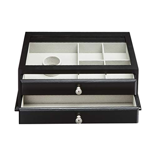 AmazonBasics Wooden Jewelry/Watch Box with Glass Top - 2-Drawer, Black