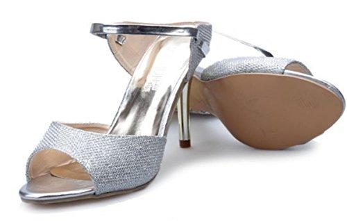 YCMDM nuove donne di estate dei sandali della bocca dei pesci Tacchi alti Belle con fibbia moda scarpe comode , silver , 36