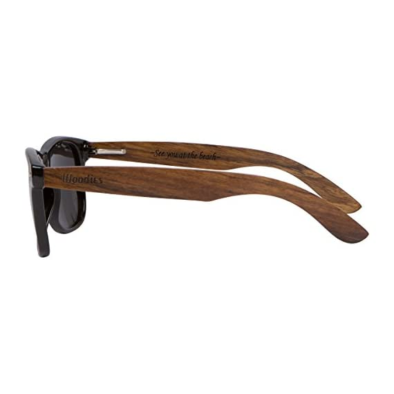 Woodies Walnut Wood Sunglasses with Black Polarized Lenses for Men or Women 8 COMFORTABLE: 50% Lighter than Ray-Bans SAFETY: Polarized Lenses Provide 100% UVA/UVB Protection EXTRAS: Includes FREE Carrying Case, Lens Cloth, and Wood Guitar Pick