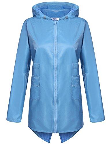 Meaneor Women's Outdoor Waterproof Raincoat Hooded Zipper Jacket Sky Blue L (Blue Sky Mesh Jacket)