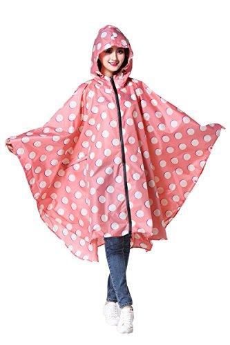 Women's Stylish Polyester Waterproof Rain Poncho Free Size with Hood Zipper Colorful Rain Coat (Pink dots) Free Jacket Patterns