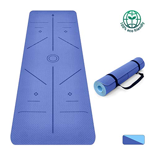 Oudort Non Slip Yoga Mat with Alignment Lines, TPE Eco-Friendly Fitness Exercise Mat 1/4 inch High Density Anti-Tear…