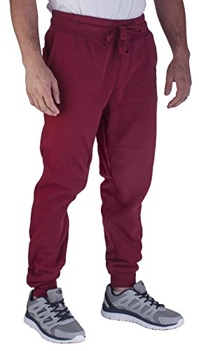 Vertical Sport Men's Active Basic Jogger Fleece Pants Light Weight Athletic fit JG2 (XLarge, Deep Red)