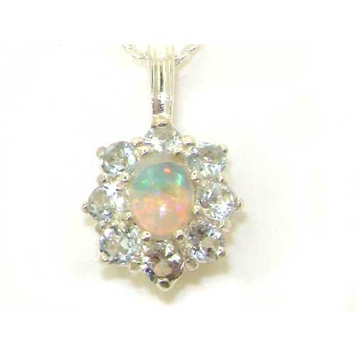 Ladies Solid 925 Sterling Silver Ornate Large Natural Fiery Opal and Aquamarine Cluster Pendant Necklace
