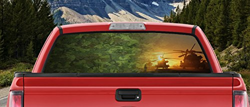 Military Camo Helicopters Taking Off for Patrol Full Color Back window graphic Decal Truck Backscape 60 X 18 Inches