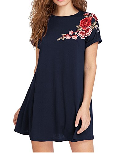 Romwe Womens Short Sleeve Loose Casual Tunic Swing T Shirt Dress Floral Patch Navy M