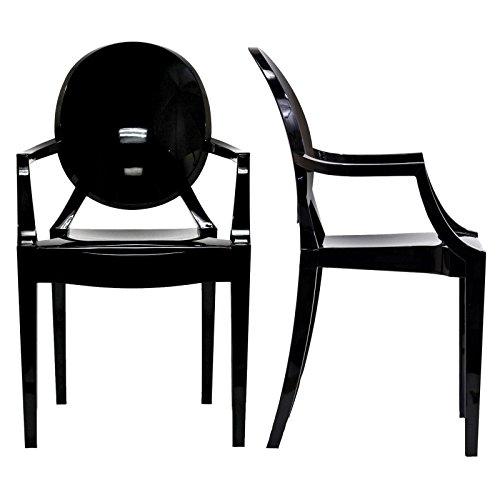 Modway Casper Modern Acrylic Dining Armchairs in Black - Set of 2 (Manhattan Dining And Chairs Table)