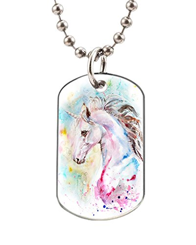 Pink and blue unicorn dog pet tag- BIG-Size oval Dog Pet Tag 1.32 x 2.2 inche with 38