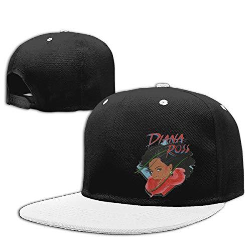 LEILEer Diana Ross Unisex Contrast Hip Hop Baseball Cap White -