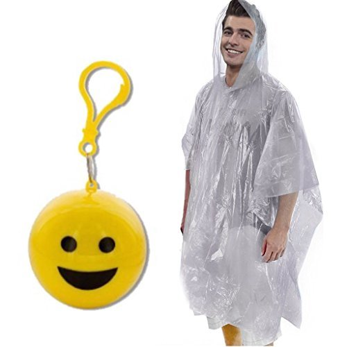 - Emergency Smiley Emoji Rain Poncho with Hood Packaged in Plastic Keychain in a Ball For Women Men Adult Girl Boy Children (One Size Fits All) for Travel Backpack Sporting Picnic Camping Outdoor Event