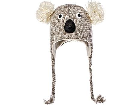 Monde Animal,Kirby le Koala en tricot Bonnet péruvien pour enfant Gris