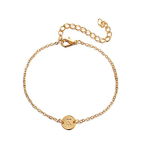 (CHUYUN Silver Initial Charm Bracelets,Dainty Round Coin Disc Initial Bracelet Engraved Letters Personalized Name Bracelet for Girls (K))