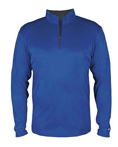 (Royal Blue Adult 3XL Long Sleeve 1/4 Zip Pullover Wicking Sports Windbreaker Jacket)