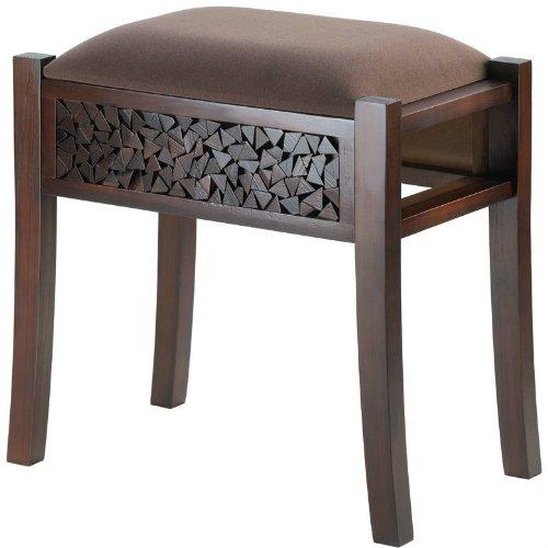 Mosaic Trimmed Rectangular Foot Vanity Stool Furniture