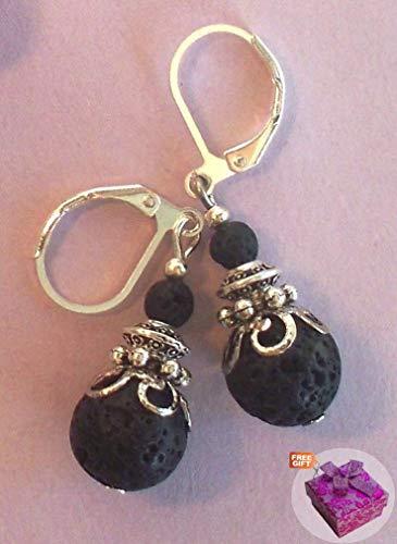 Black Lava Rock Drop Earring Leverback Artisan Sp Handcrafted Rhinestone Jewelry Crystal Earrings For Women Set + Cute Gift Box for Free