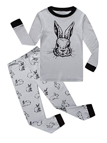Little Girls Boy Rabbit Easter Pajamas 100% Cotton Gray Pjs Sleepwear Kid -