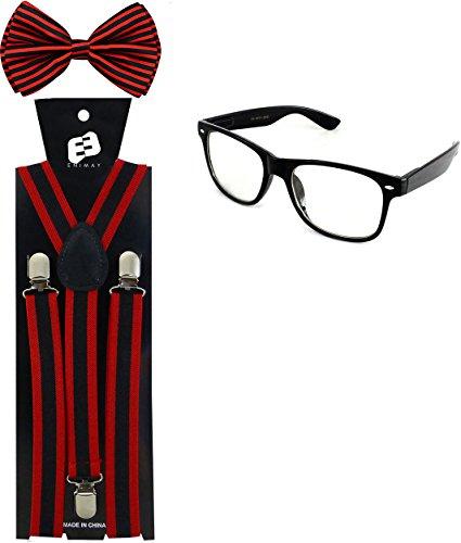 Enimay Suspender Bowtie Wayfarer Clear Glasses Nerd Costume Halloween Red Stripe -