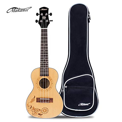 Makanu Concert Ukulele 23 Inch Spruce Ukulele with Tattoo for Professional