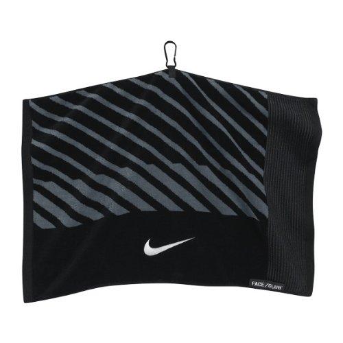 (Nike Face/Club Jacquard Golf Towel, Black/White/Dark Grey)