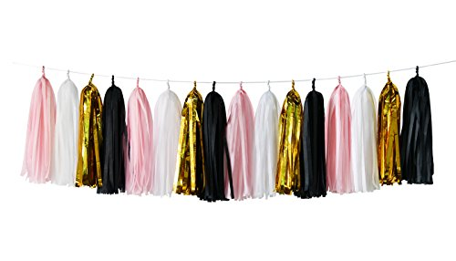 16 pcs White Pink Black Gold Tissue Paper Tassel Garland Bunting for Baby Shower, Bridal Shower, Birthday Party, Nursery Decoration French, Paris, Pink, Pink and Black Birthday Party Ideas -
