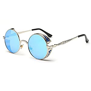 Blue Sunshine Unisex Retro Round Carve Flowers Pattern Reflective Sunglasses