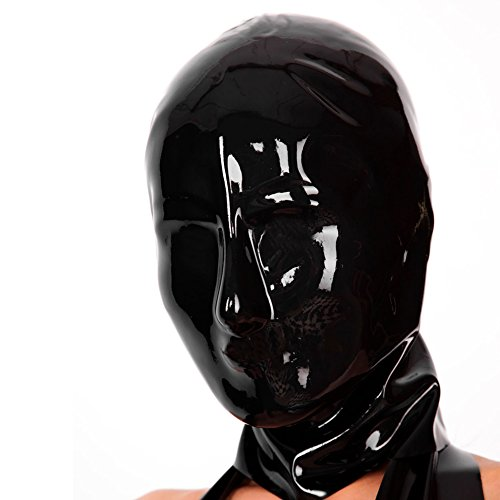 EXLATEX Latex Rubber Mask Anatomical Hood Without Any Holes for Men and Ladies (0.4mm)