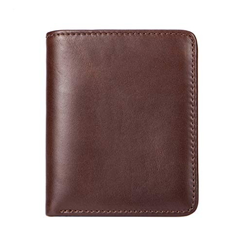 Leather wallet suede leather men's wallet short wallet retro coin purse thin thin credit card holder leather double folding front pocket wallet top layer leather retro multi-karaoke chain clutch