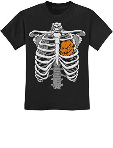 Halloween Skeleton Rib Cage Xray Pumpkin Heart Costume Youth Kids T-Shirt Small Black (Xray Skeleton Kids Costume)