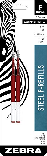 Zebra F-Series Ballpoint Stainless Steel Pen Refill, Fine Point, 0.7mm, Red Ink, 2-Count