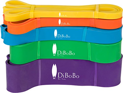 Cheap DiBoBo Heavy-Duty Workout Loop Resistance Bands for Men and Women – Muscle Toning, Strength Training and Yoga Fitness at Gym or Home (Set of 3 Bands)