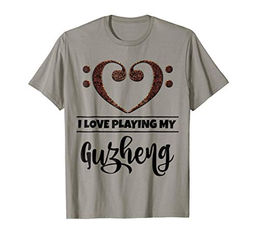 Double Bass Clef Heart I Love Playing My Guzheng Music Lover T-Shirt