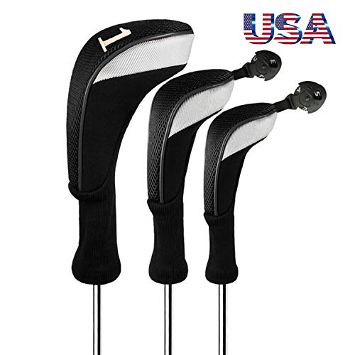 (Golf Club Head Covers Woods Driver Fairway Hybrid 3 Set, Headcovers Men Women Long Neck 1 3 5 7 X with Interchangeable Number Tag, Fit Nike Ping Mizuno Titleist 460CC (Black, Driver&Fairway&Hybrid))