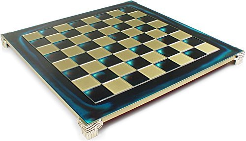 Manopoulos Brass & Blue Chess Board - 1