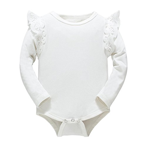 Huata Baby Girls Boys Long Sleeve Onesies Bodysuit Baby Romper (White, 0-6 Months)