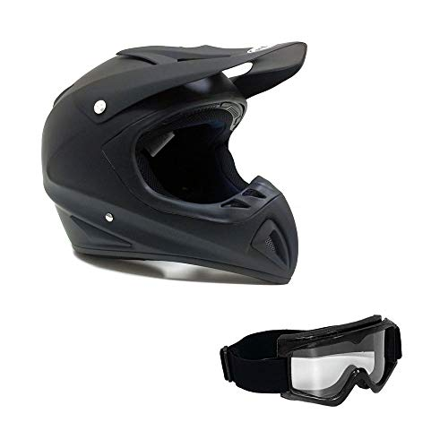 Adult Motorcycle Off Road Helmet DOT - MX ATV Dirt Bike Motocross UTV (M, Matte Black). Includes ()