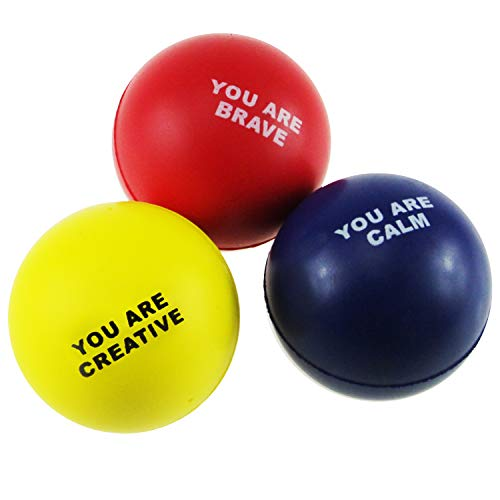 GloHeaven Motivational Stress Balls (3-Pack) Stress and Anxiety Relief Toys for Kids, Students and Adults