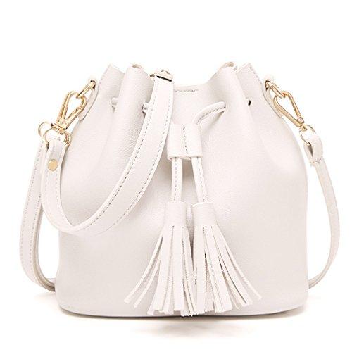 HopeEye mujer Tendencias de la moda Cuero De La Pu Mochila para mujer(gzaspunb01-5-Grey) 3-blanco