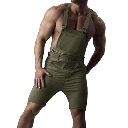 Karlywindow Mens Denim Bib Overalls Knee Length Bib Shorts Lightweight Romper with Pockets (Medium, A-Army Green) (Bib Knee Length)